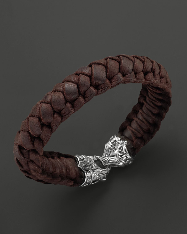 Kays Charm Bracelets: Scott Kay Mens Brown Leather Woven Bracelet With Sterling
