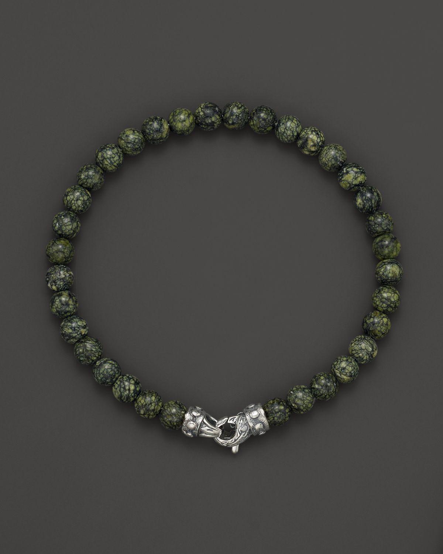 Scott Kay Mens Green Jasper Bead Bracelet With Riveted