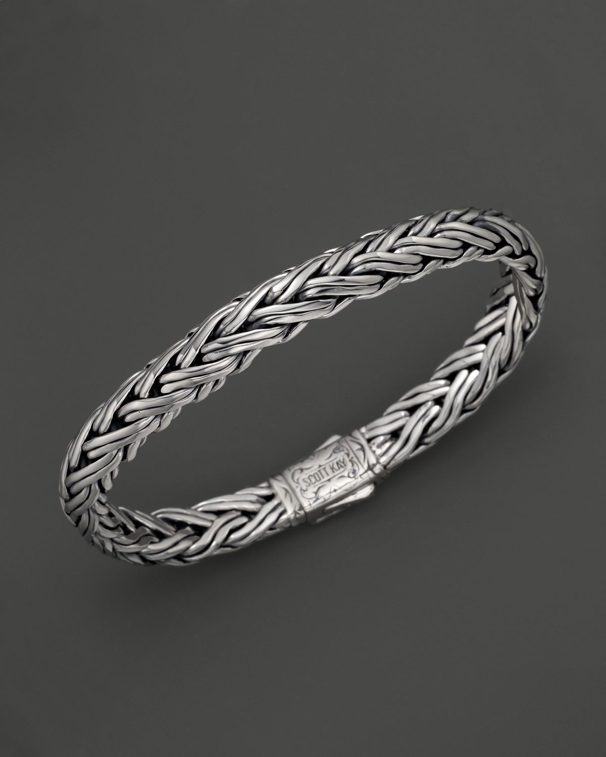 Scott Kay Mens Sterling Silver Domed Equestrian Bracelet