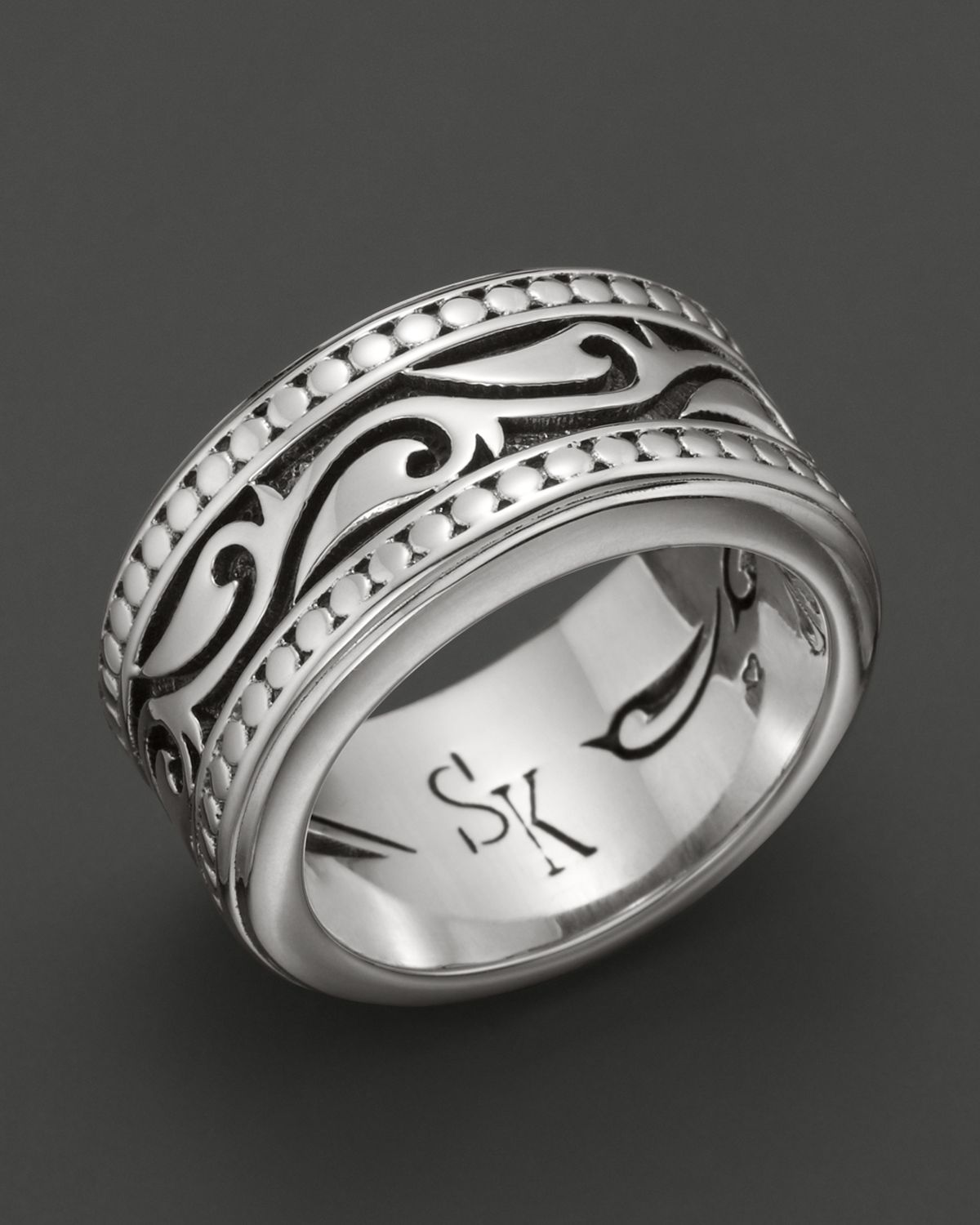 Scott Kay Mens Sterling Silver Engraved Sparta Band Ring