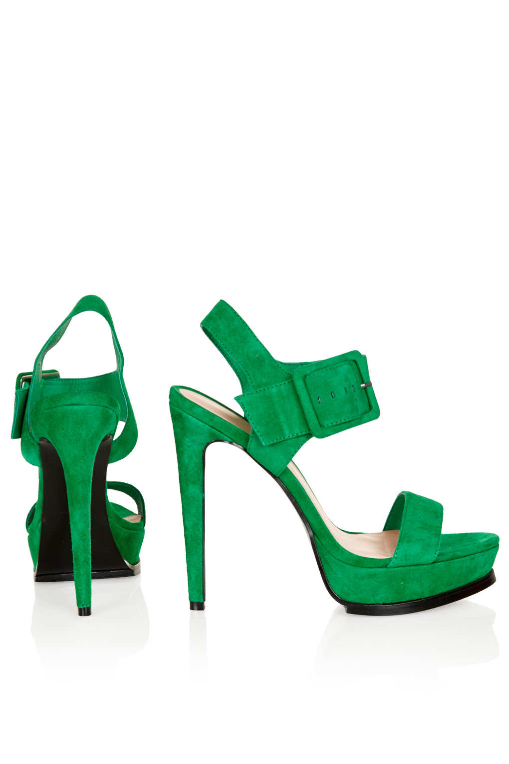 Topshop Limbo Buckle Platform Sandals In Green Lyst