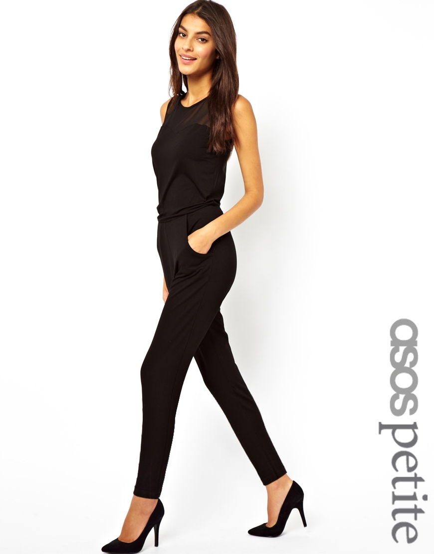 bd8d0891e5e Lyst - ASOS Asos Petite Exclusive Jumpsuit with Mesh Insert in Black