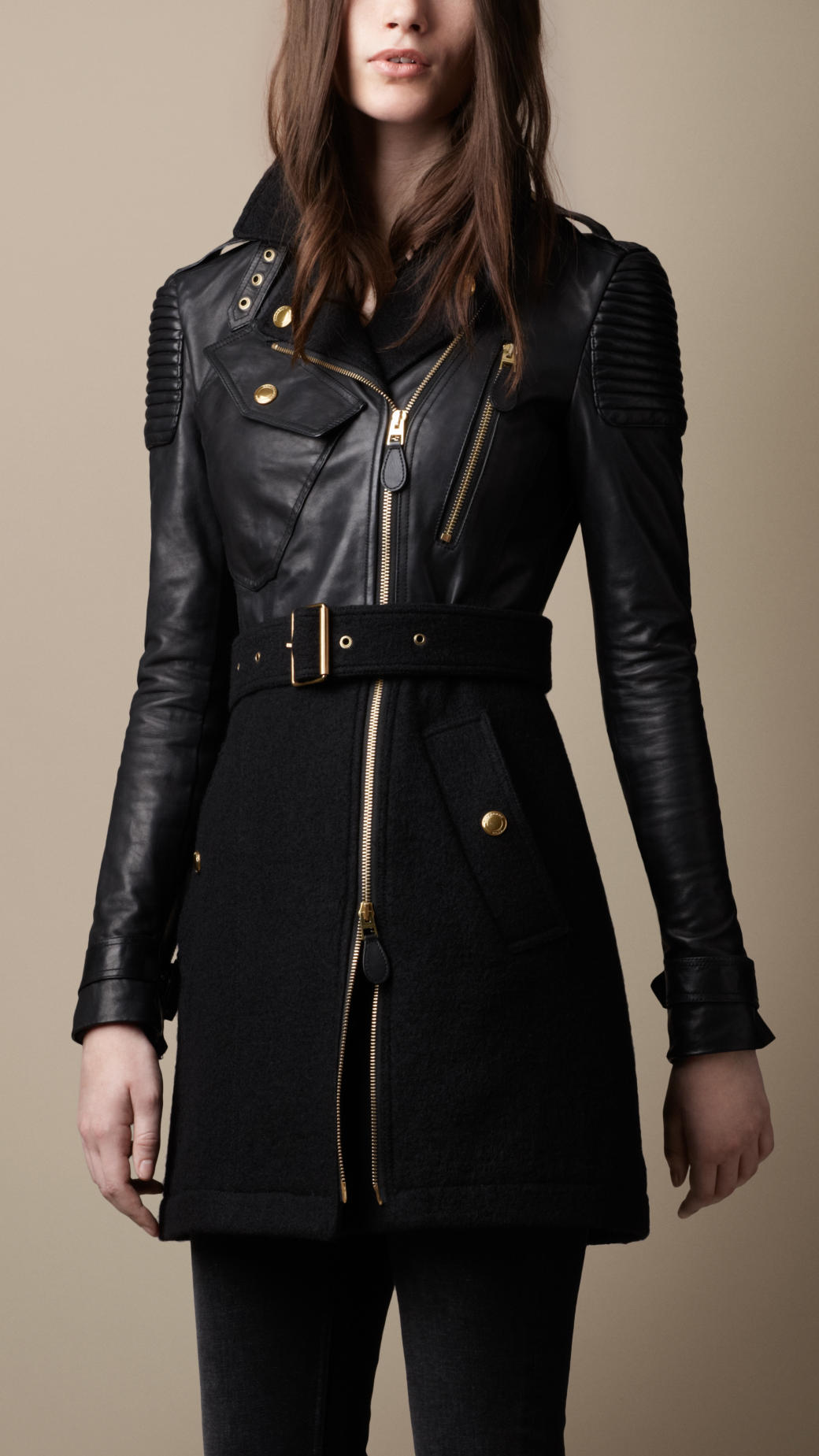 Lyst Burberry Felted Wool And Leather Trench Coat In Black