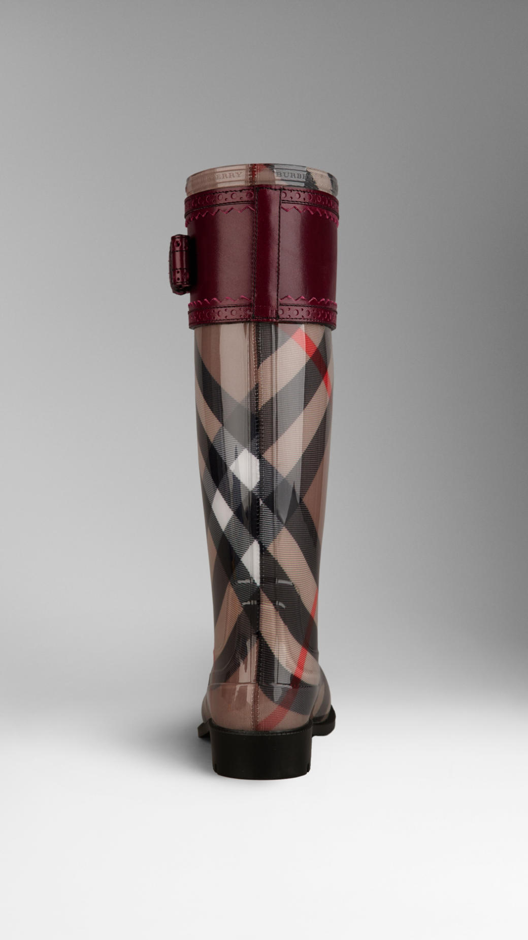 Burberry Leather Detail Check Rain Boots In Red For Men Lyst