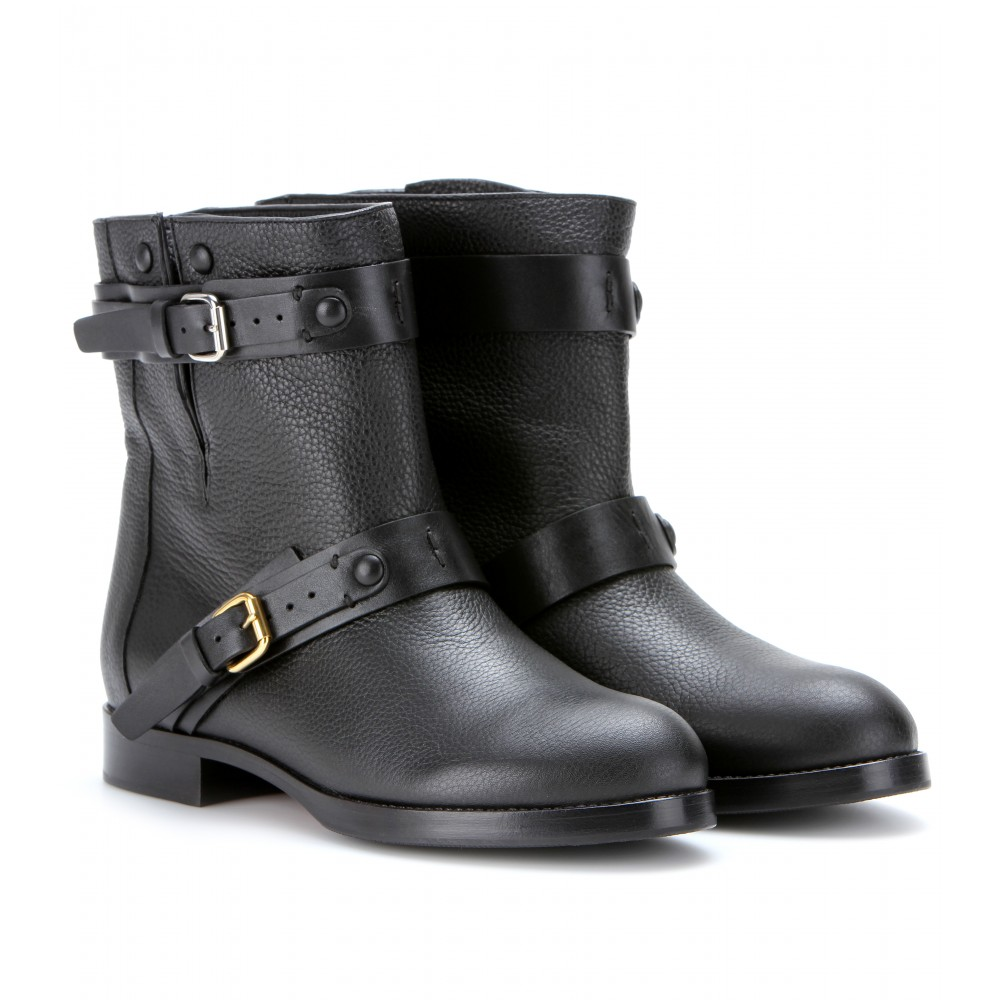 Chloé Leather Biker Boots in Black - Lyst