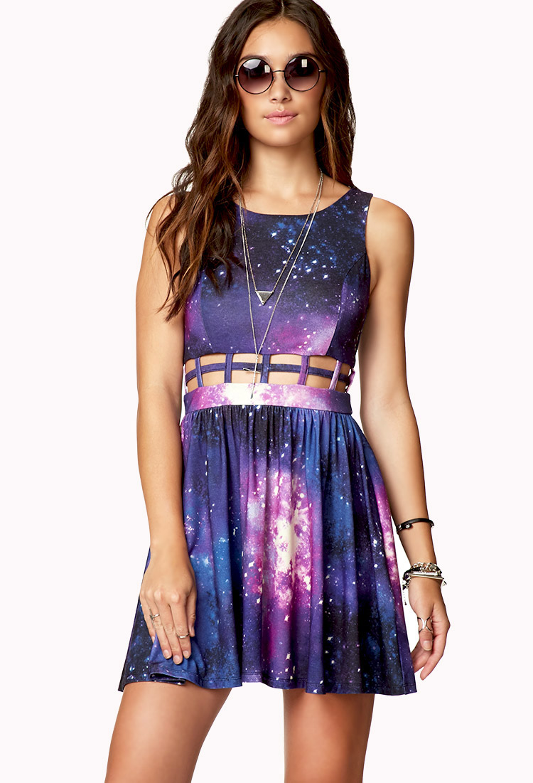 Forever 21 Fit Flare Cosmic Cage Dress In Black Purple