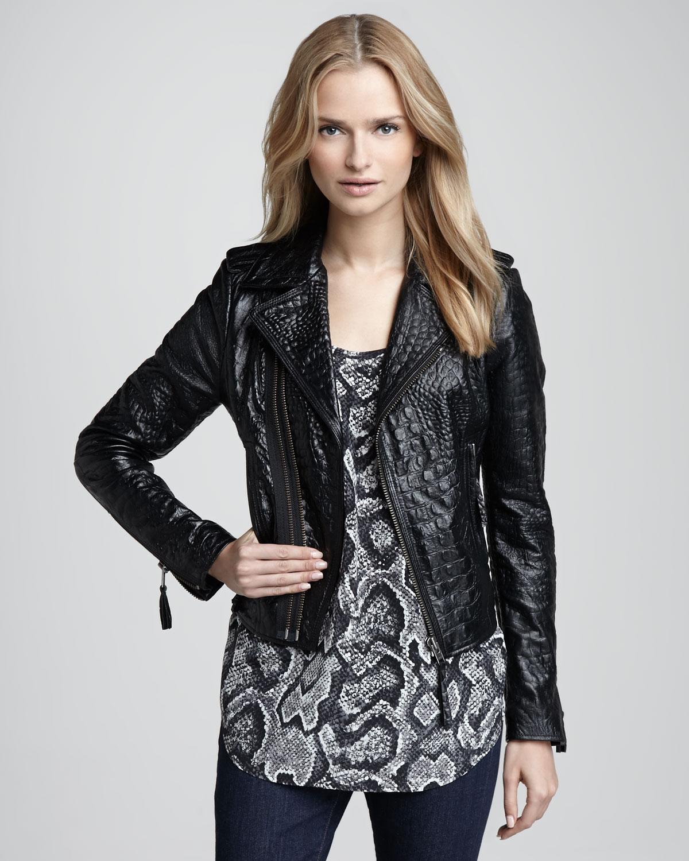 Joie Ailey Crocodileembossed Leather Jacket In Black Lyst