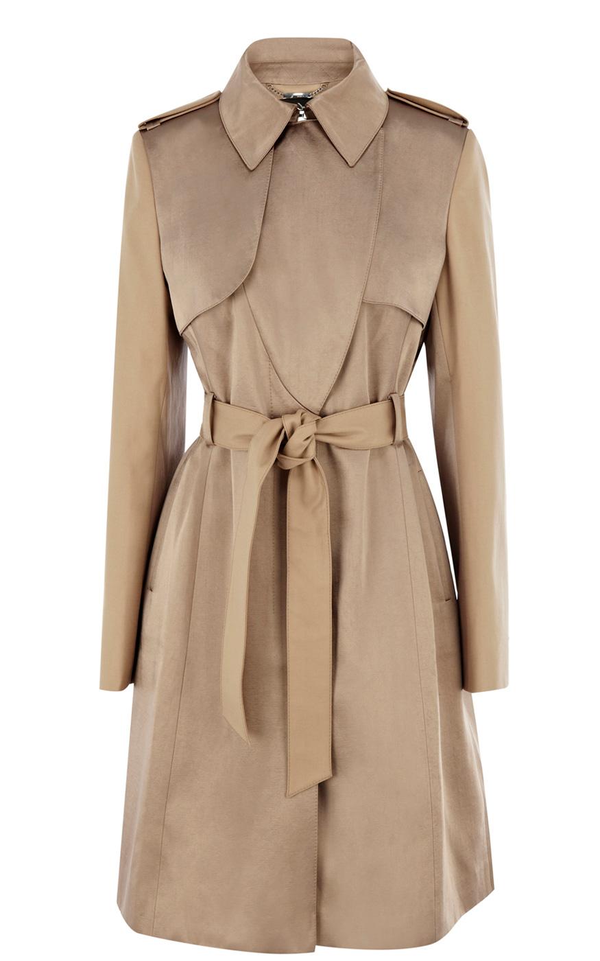 Karen millen satin fabric mix trench coat in natural lyst