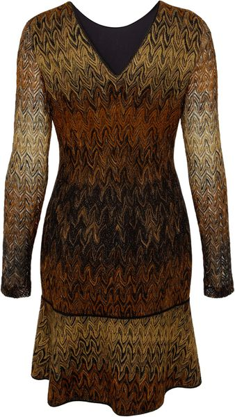 Missoni Gold Long Sleeve Flare Lurex Dress In Gold Lyst