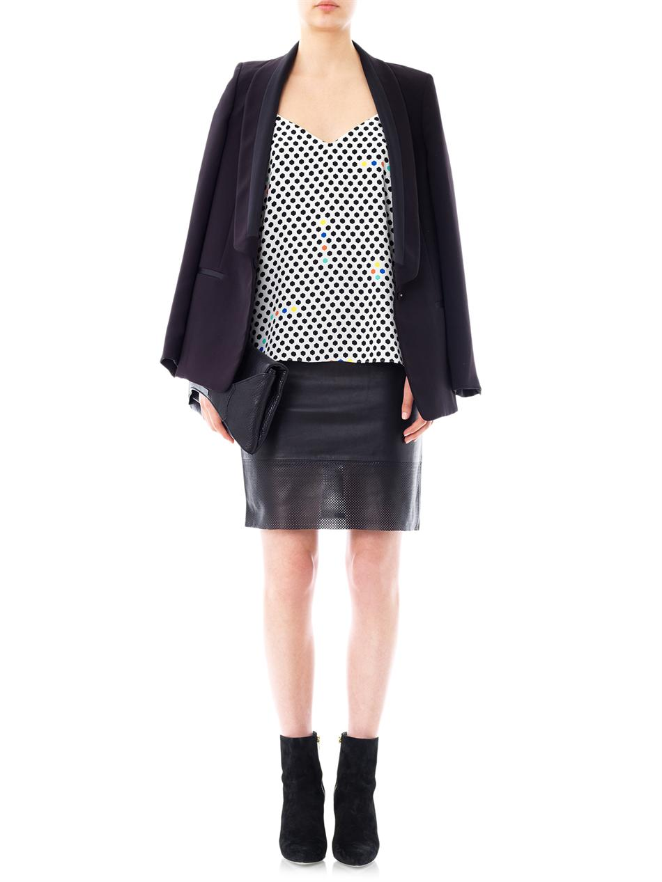 tibi perforated leather skirt in black lyst