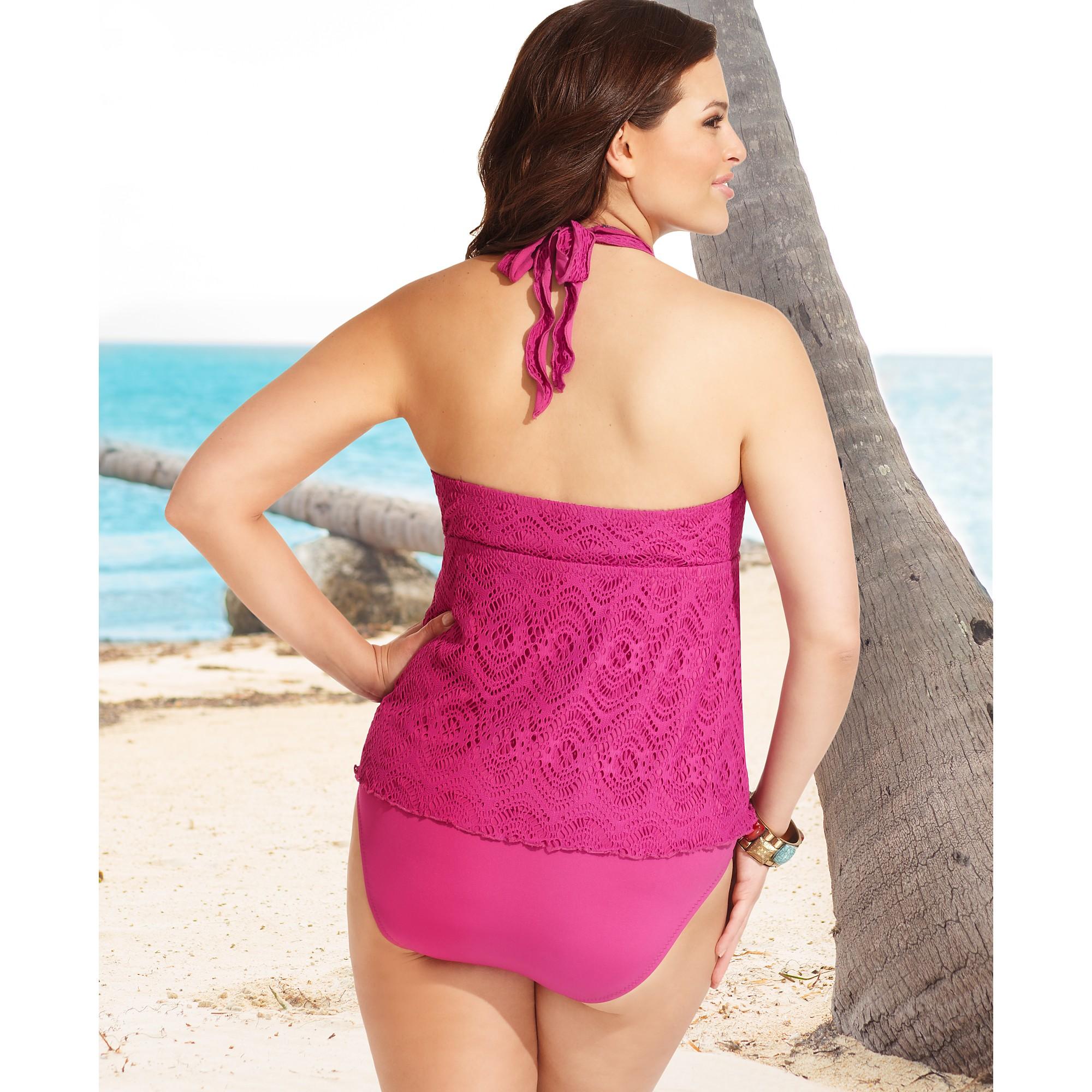 b369c74705 Becca Halter Crochet Tankini Top in Pink - Lyst