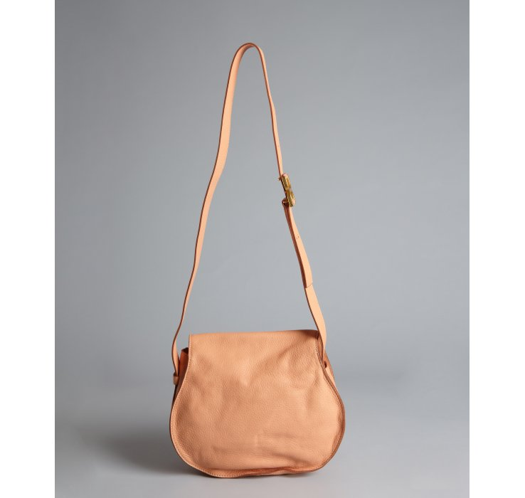 Chlo¨¦ Coral Sand Grained Lambskin Marcie Crossbody Bag in Pink ...