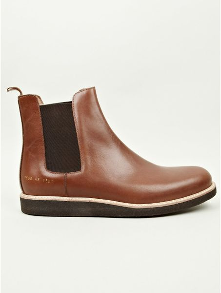 Common Projects Mens Brown Leather Chelsea Boots In Brown