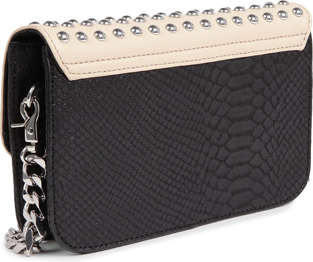 DKNY Python Studded Crossbody Bag in Sand Black (Black)