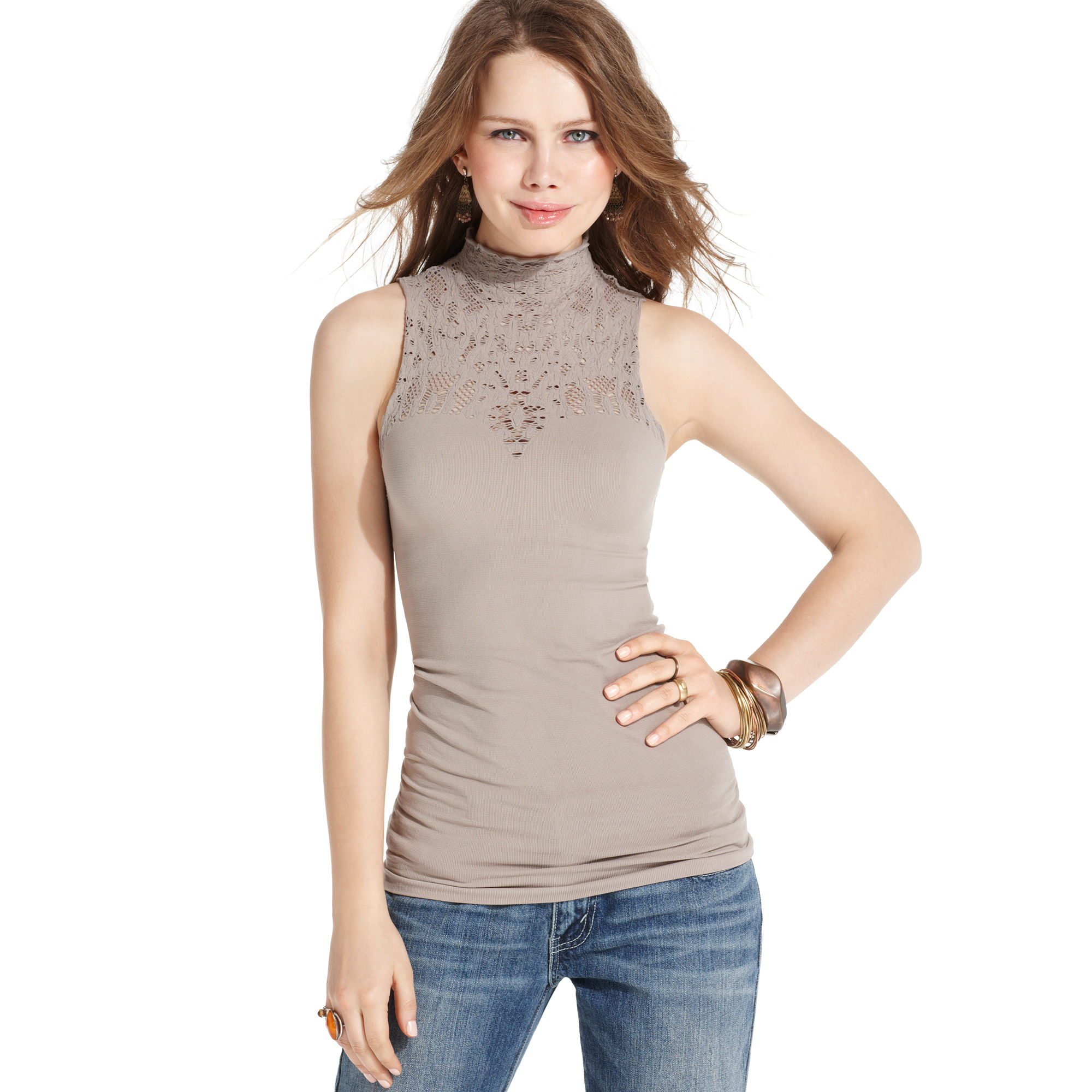 64991236a Free People Sleeveless Lace Mock-turtleneck in Natural - Lyst