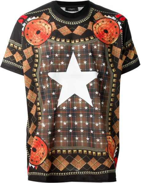 Givenchy star print tshirt in for men black lyst for Givenchy star t shirt
