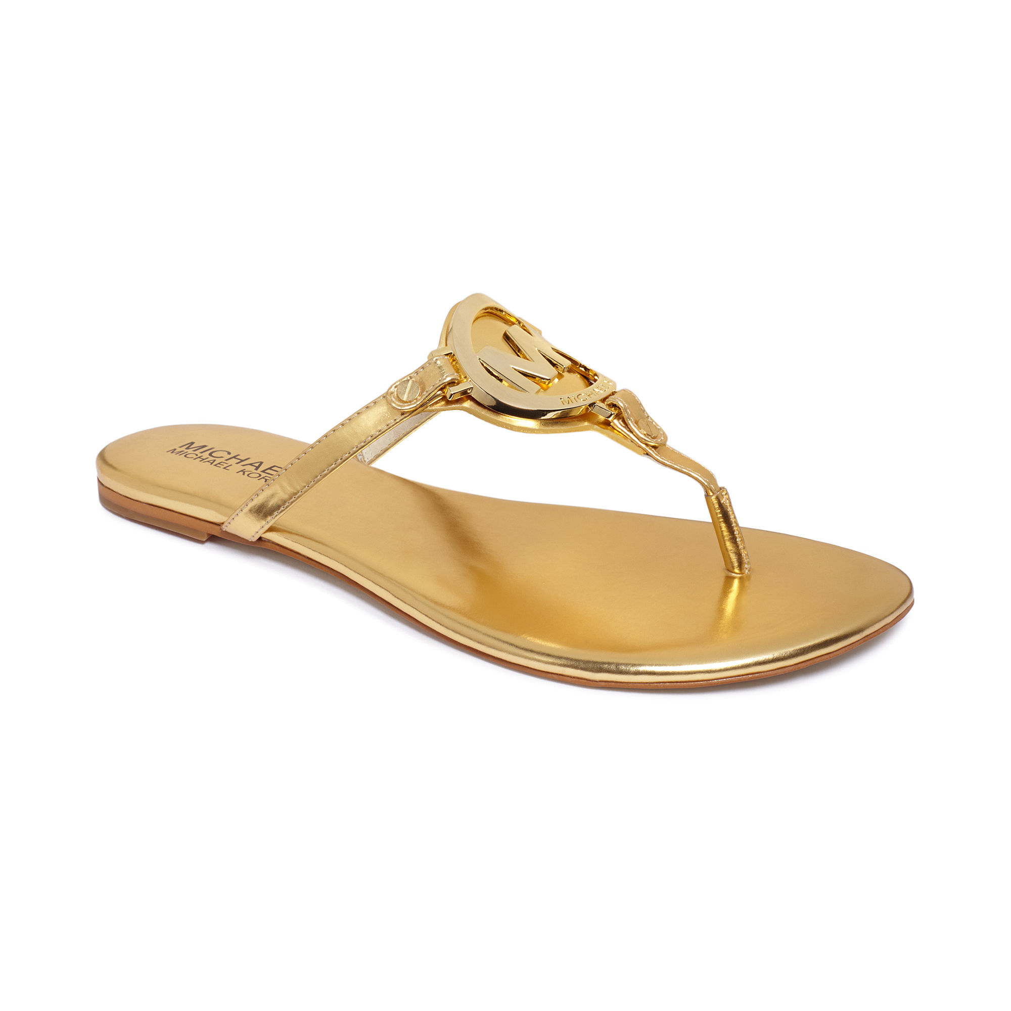 Lyst - Michael Kors Melodie Flat Thong Sandals in Metallic