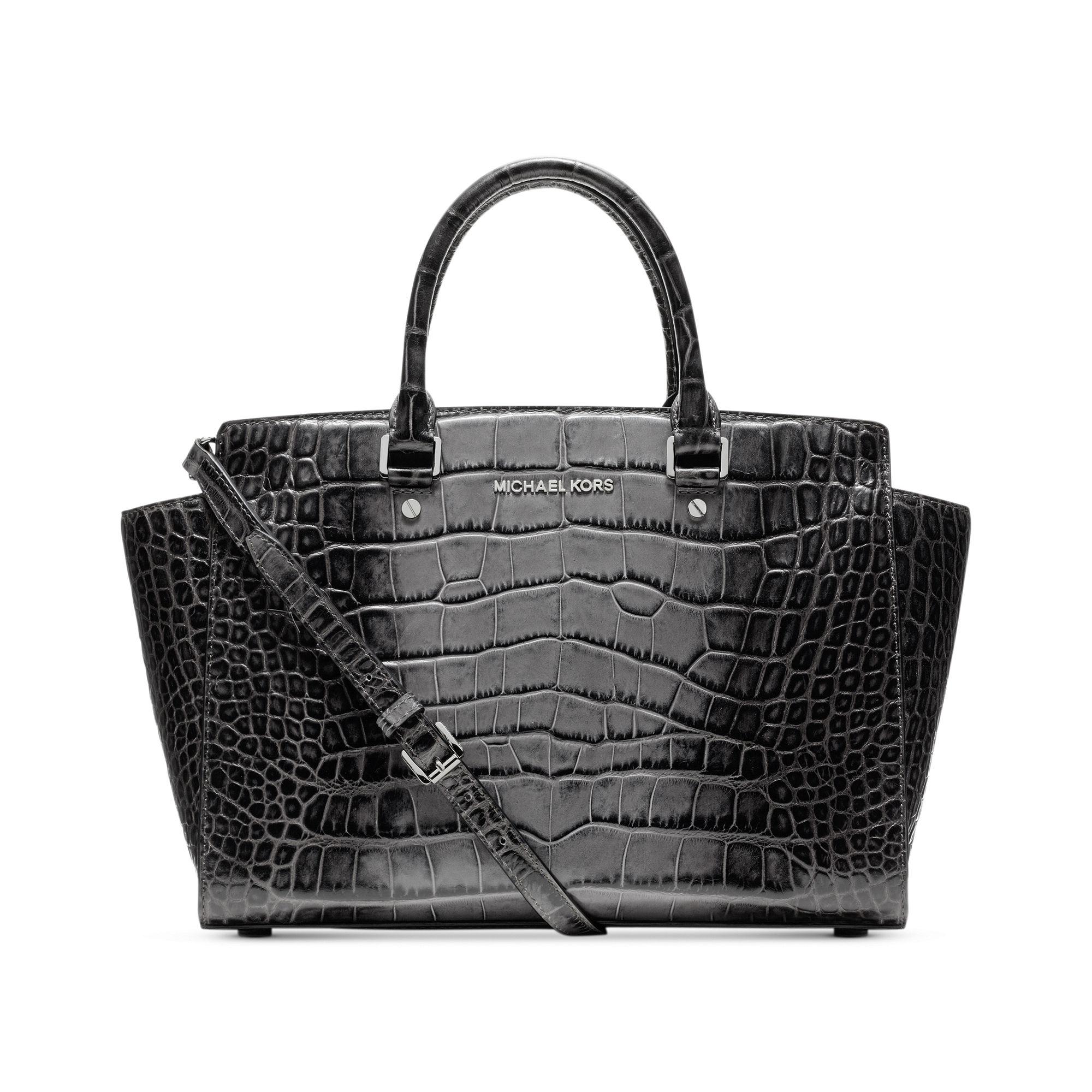 michael kors selma large croco satchel in black grey lyst. Black Bedroom Furniture Sets. Home Design Ideas