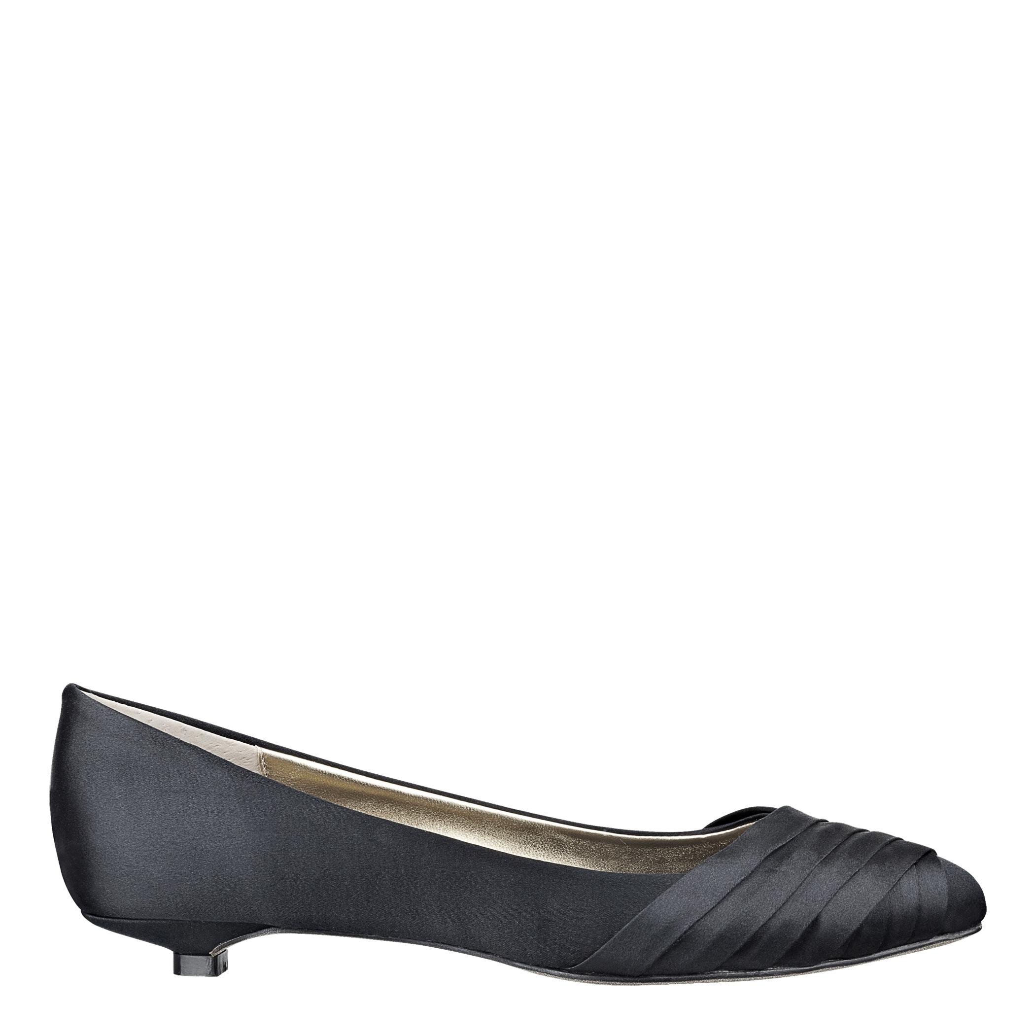 Black Satin Kitten Heels