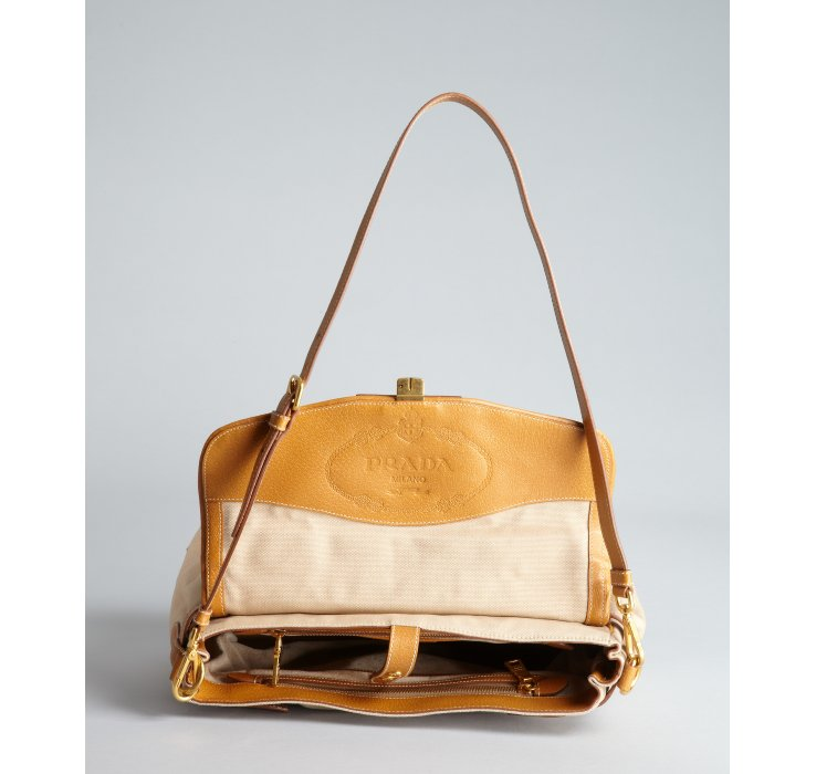 Prada Beige Canvas and Leather Top Handle Bag in Beige | Lyst