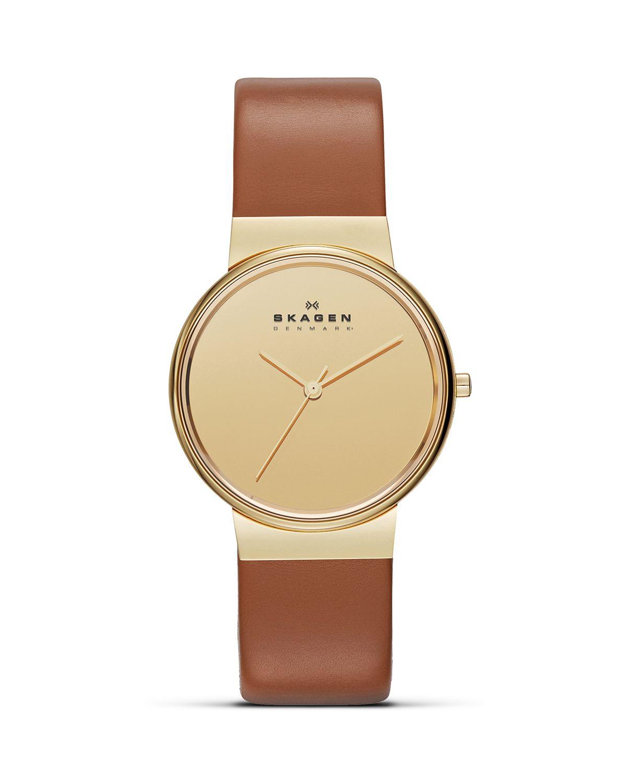 976ea43957b7f Lyst - Skagen Womens Studio Light Brown Leather Watch 34mm in Brown