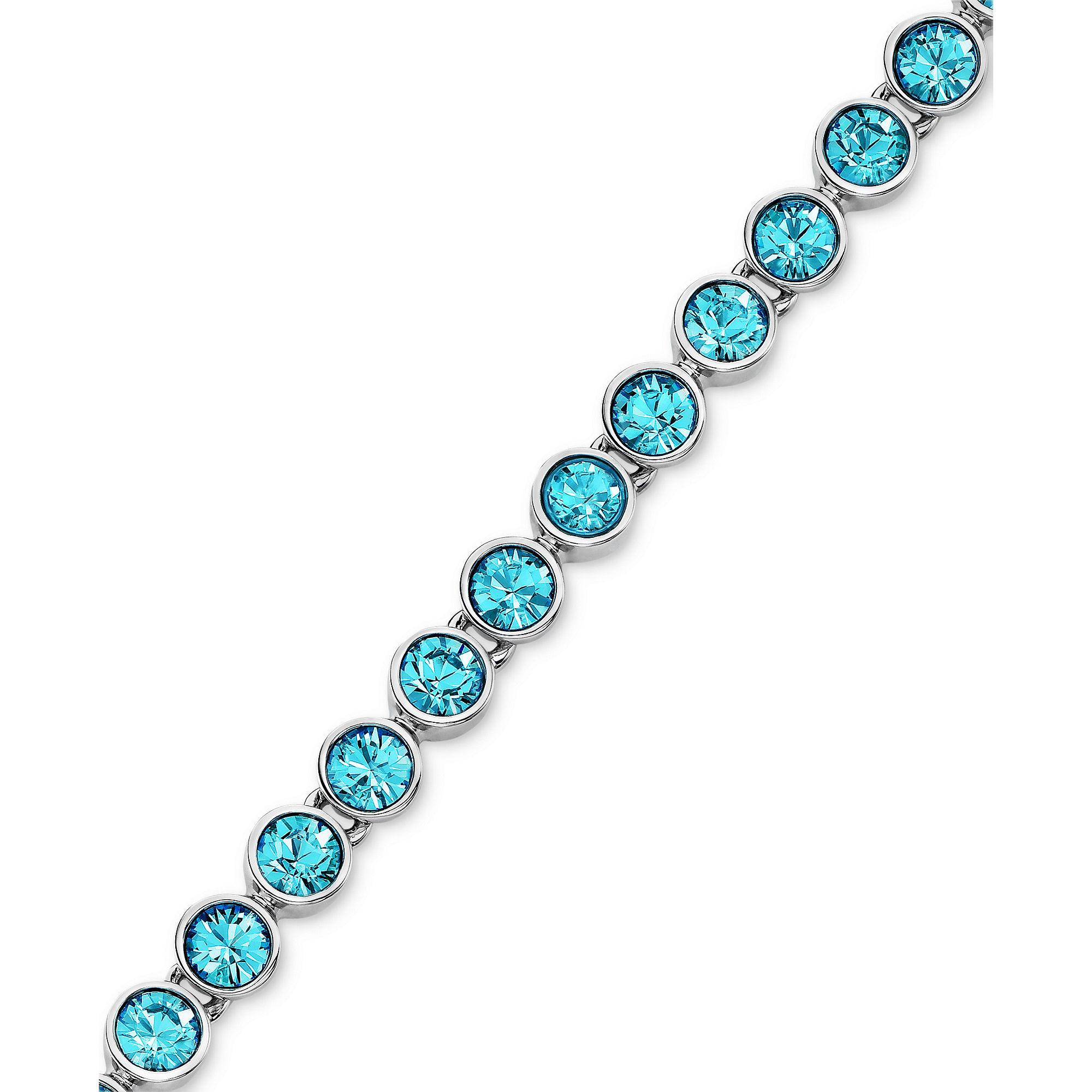 swarovski rhodiumplated aquamarine crystal tennis bracelet. Black Bedroom Furniture Sets. Home Design Ideas