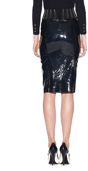 burch autumn patent leather skirt in blue normandy
