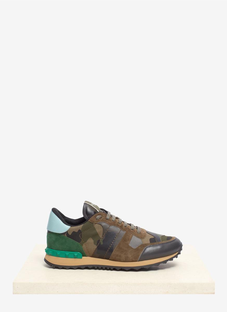 Lyst Valentino Rockstud Camo Print Sneaker In Green For Men