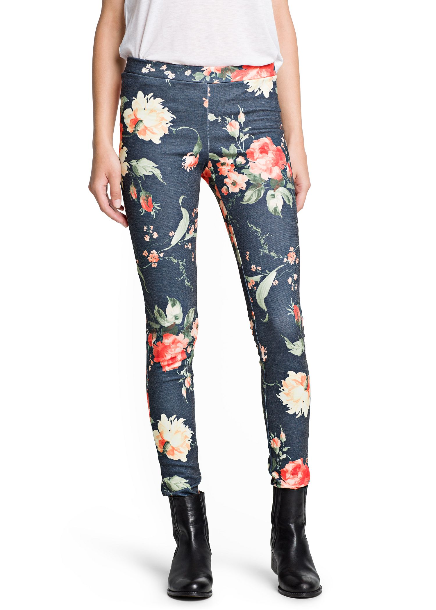 Mango Floral Print Leggings In Blue Lyst