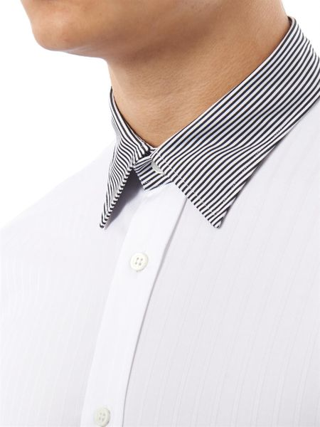 Alexander mcqueen contrast collar and cuff shirt in white for Mens dress shirts with contrasting collars and cuffs