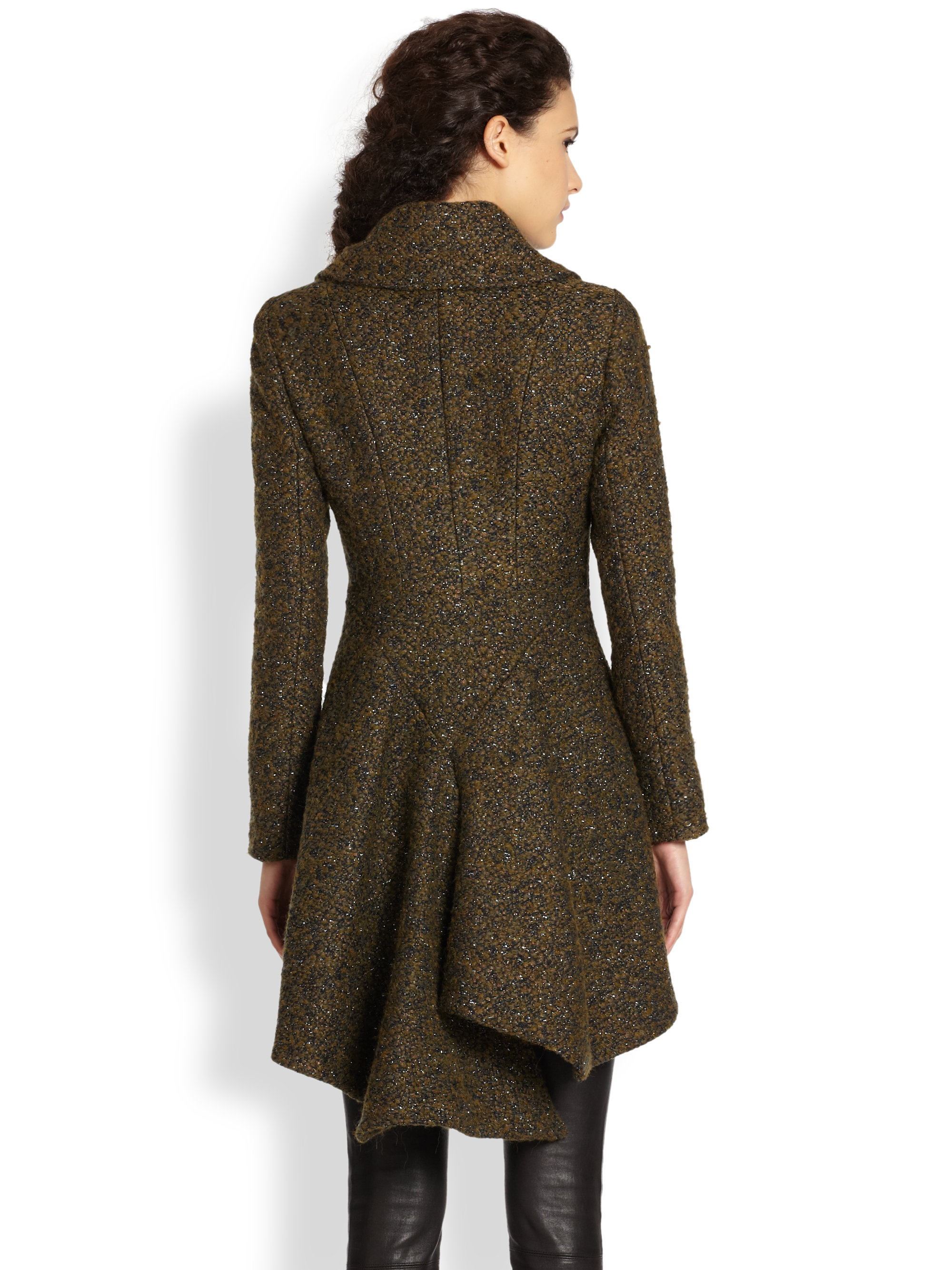 Alice Olivia Caro Tweed Trench Coat In Dark Green Green