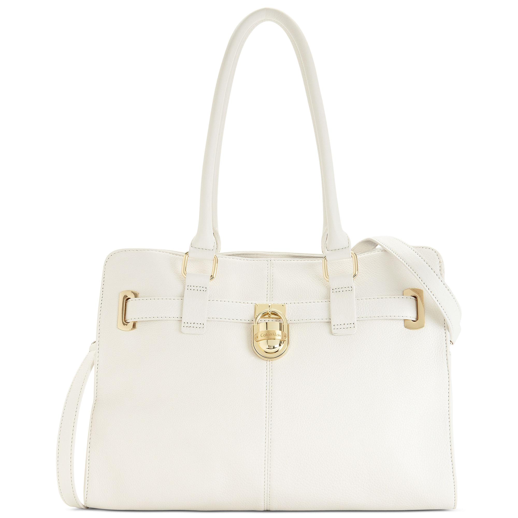 b6c1f55041 Lyst - Calvin Klein Modena Leather Tote in White
