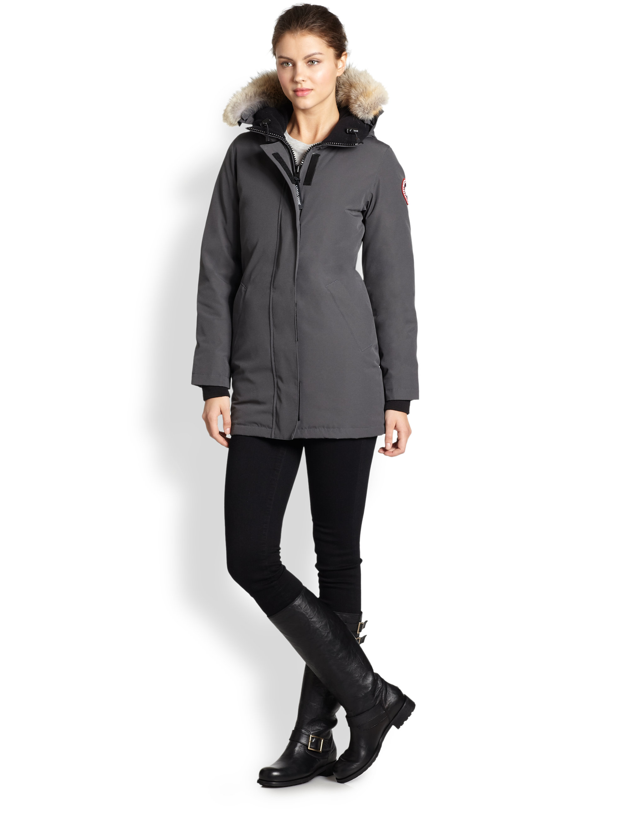 Canada Goose kensington parka sale cheap - Canada goose Furtrimmed Downfilled Victoria Parka in Gray (OLIVE ...