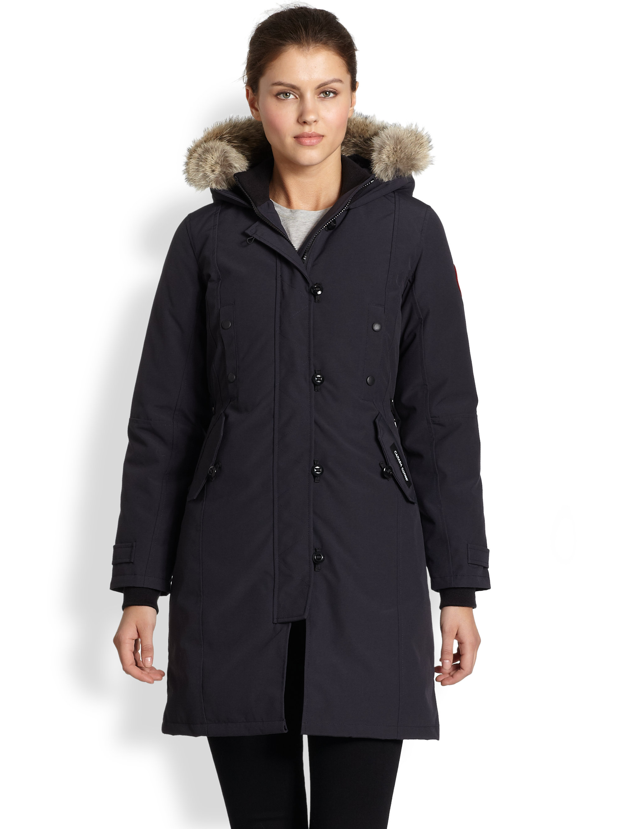 Canada Goose kids sale discounts - Canada goose Fur-trimmed Kensington Down Parka in Blue (NAVY) | Lyst