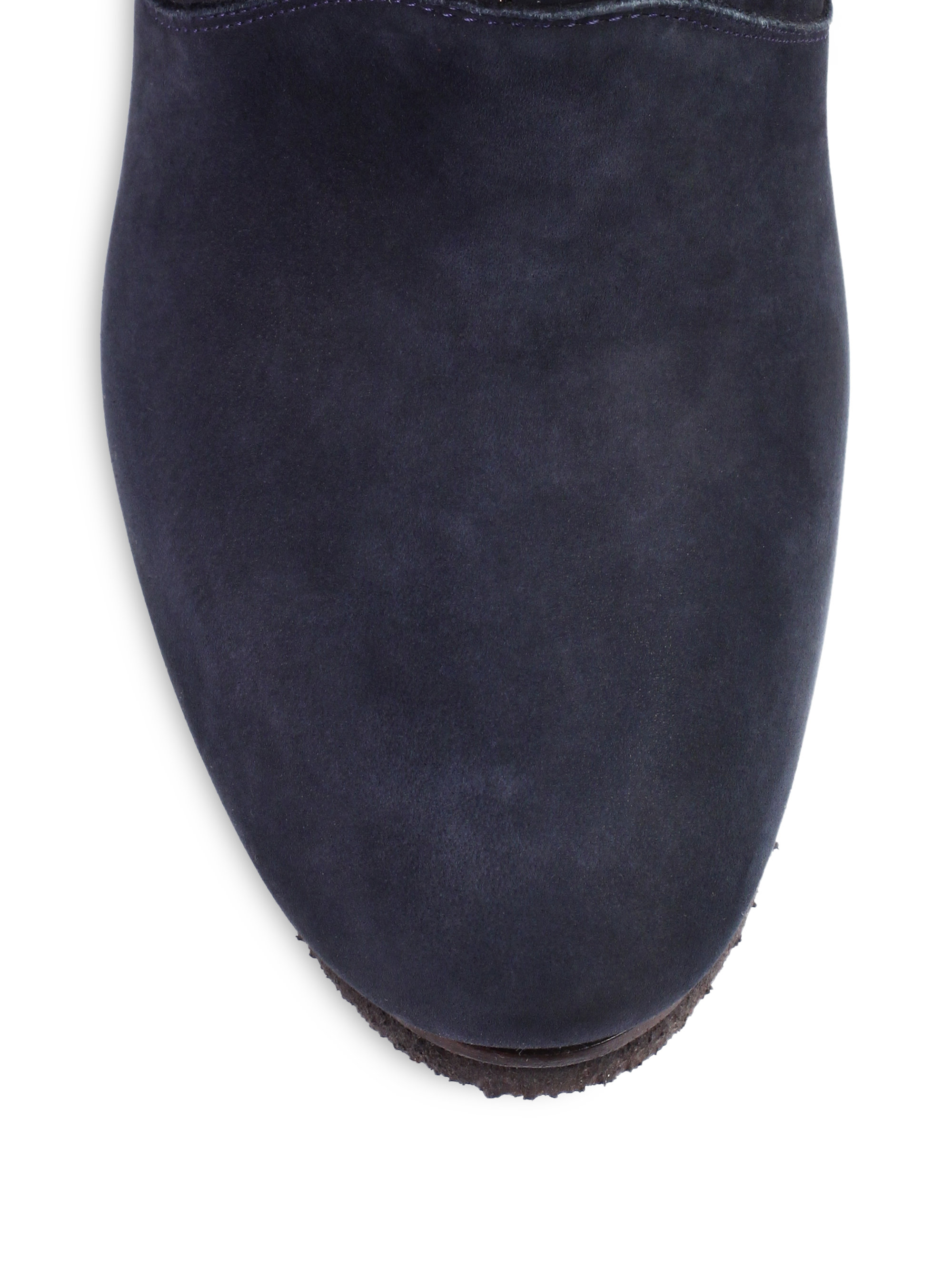 Chlo 233 Foldover Suede Laceup Wedge Ankle Boots In Blue Lyst
