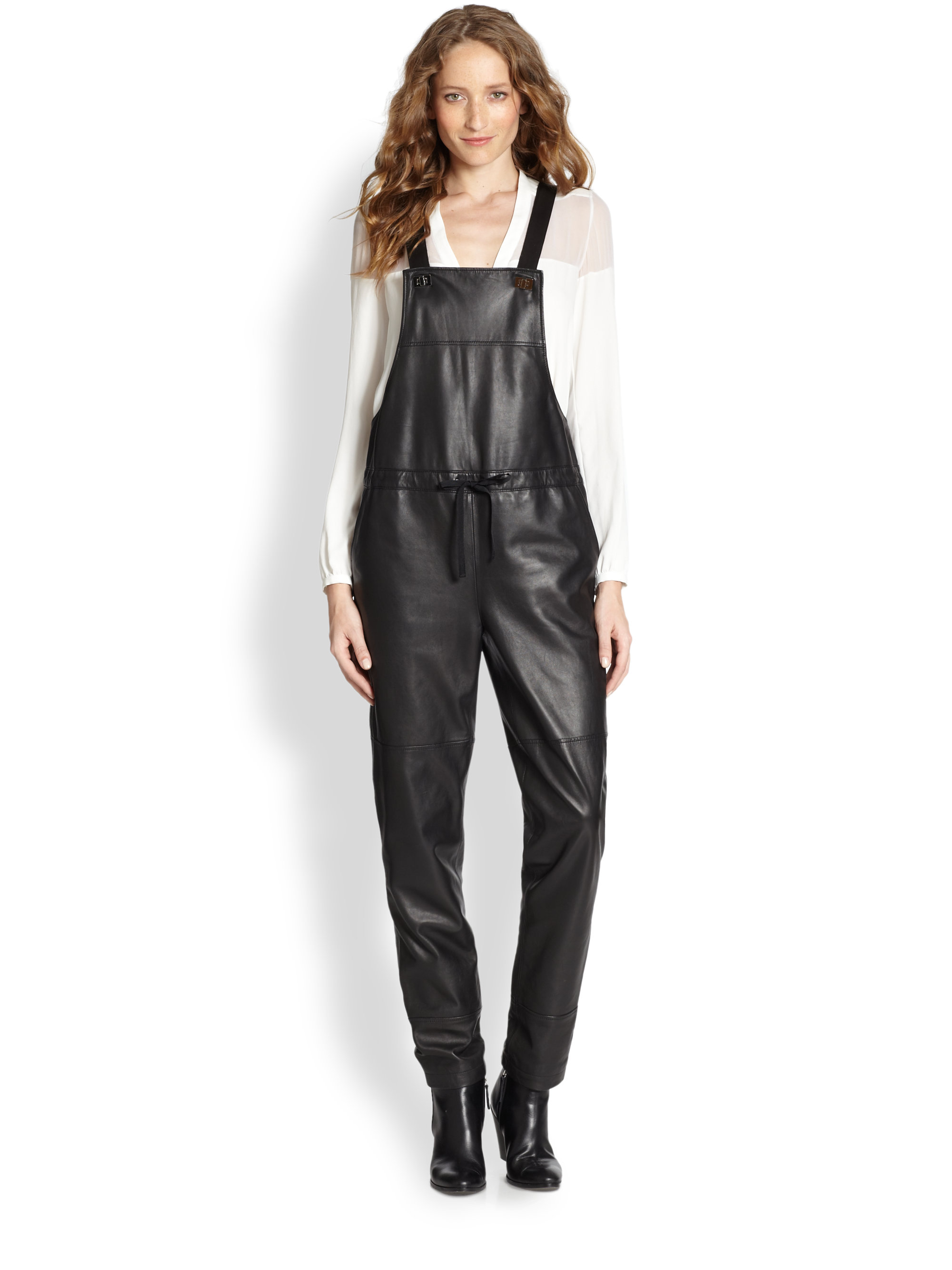 Lyst Elizabeth And James Lars Leather Overalls In Black