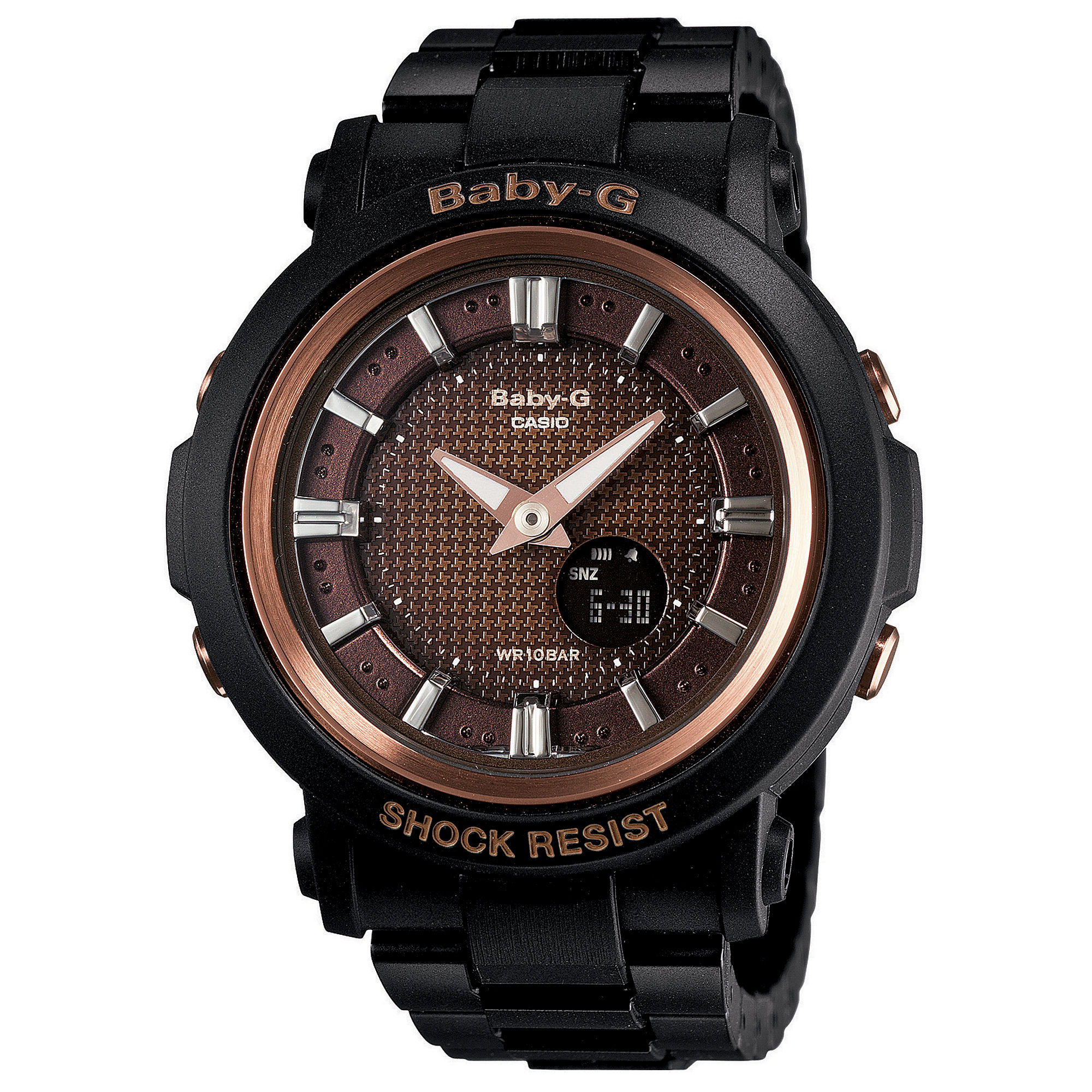 G shock babyg watch womens analogdigital black resin strap 43x47mm bga3011a in black no color for Black resin ladies watch