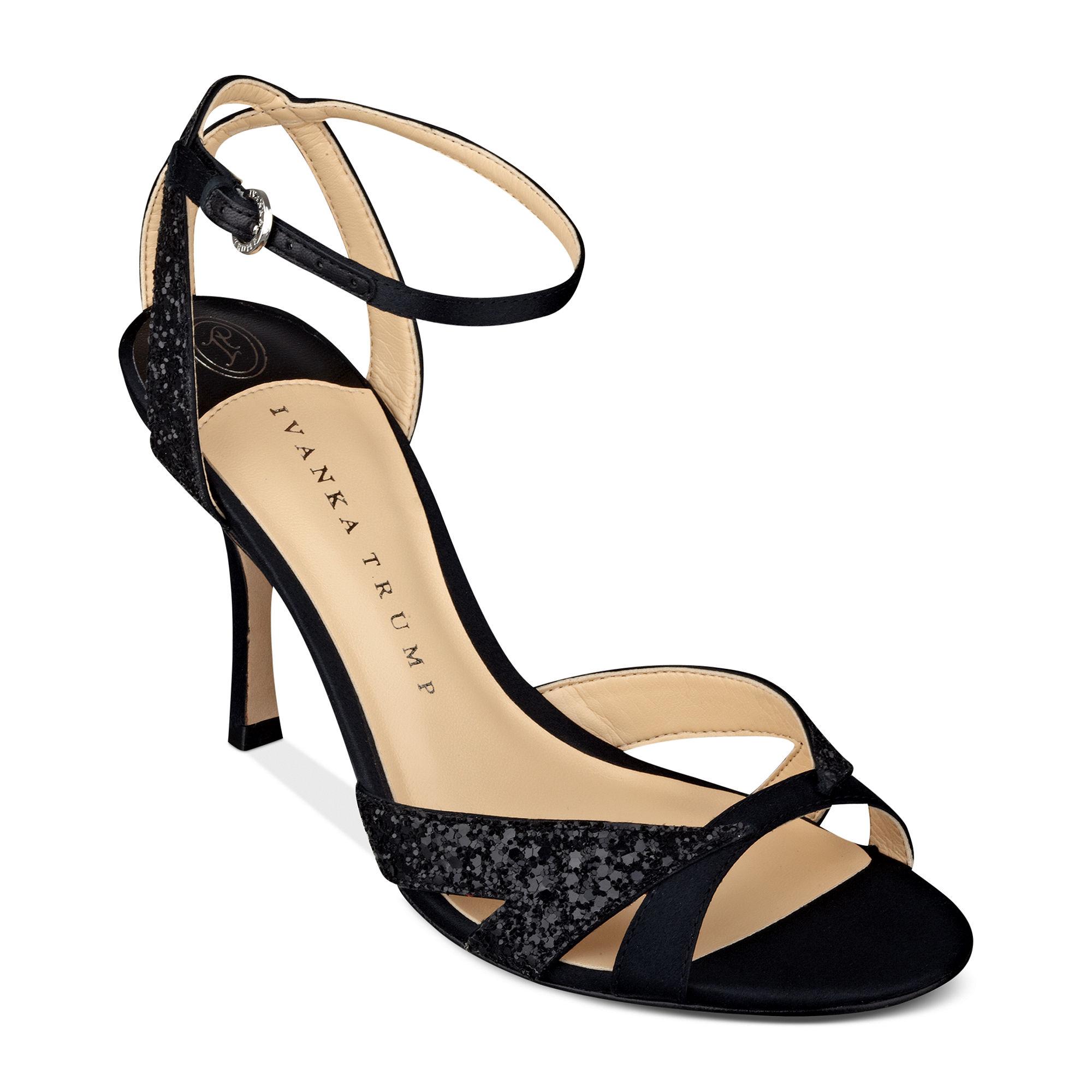 25f81dcefe4 Ivanka Trump Black Anita Mid Heel Evening Sandals