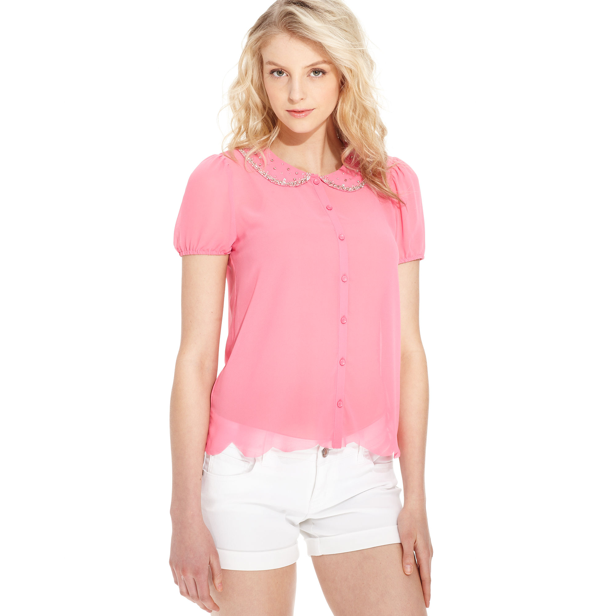 Women'S Short Sleeve Chiffon Blouse 15