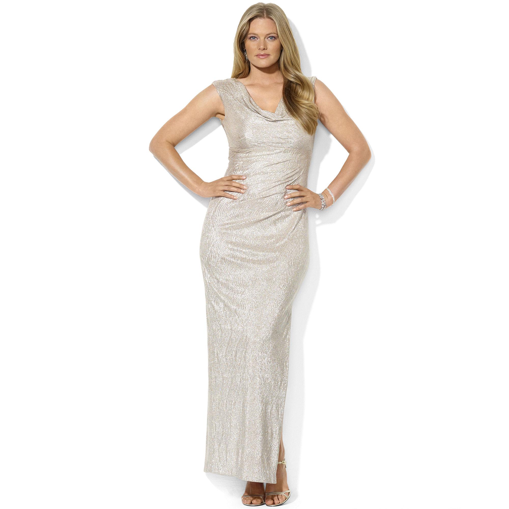 0a625d39ab0 Lauren by Ralph Lauren Capsleeve Metallic Cowlneck Gown in Metallic ...