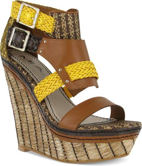 Mia Frida Platform Wedge Sandals In Brown Tan Lyst