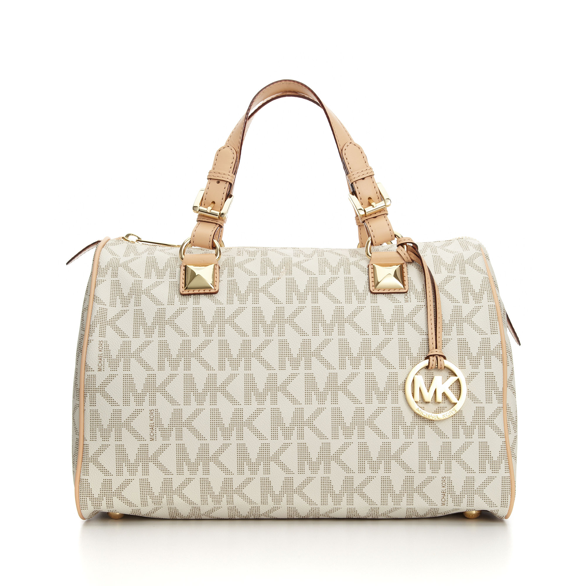 Michael kors Grayson Large Satchel in Natural | Lyst