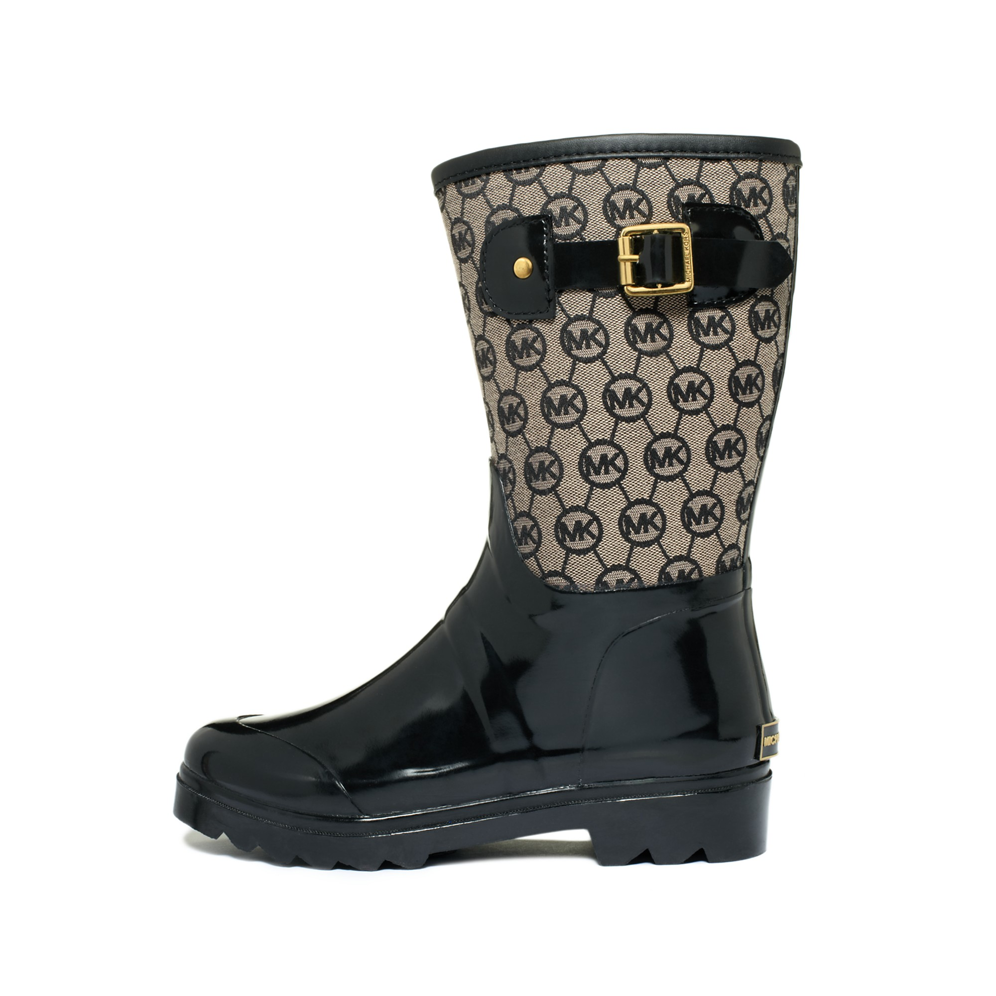 michael kors monogram mid rain boots in black lyst. Black Bedroom Furniture Sets. Home Design Ideas