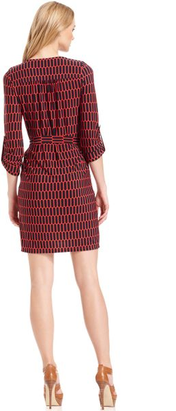 michael kors sleeve printed belted shirt dress in