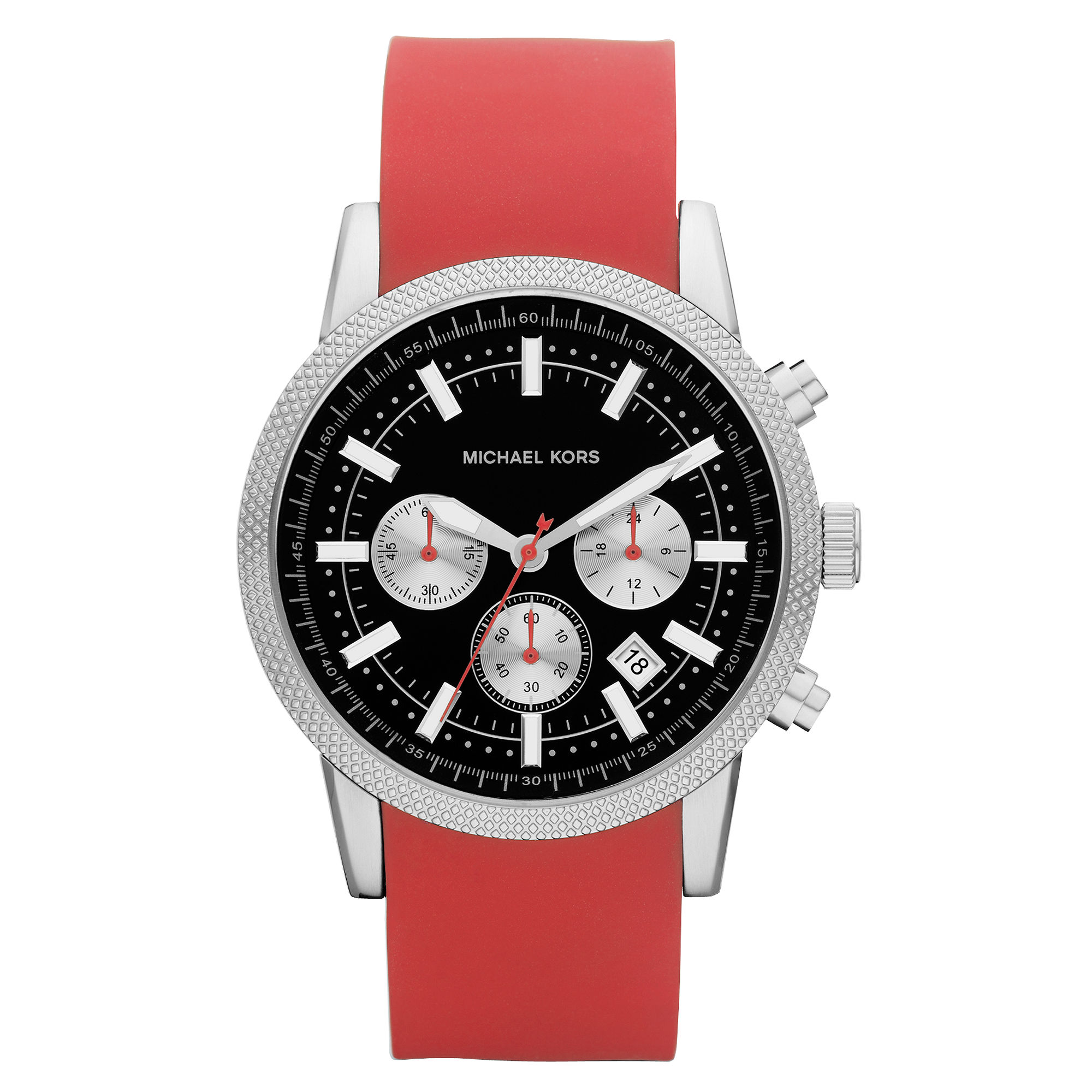 Michael Kors Mens Chronograph Scout Red Silicone Bracelet ...