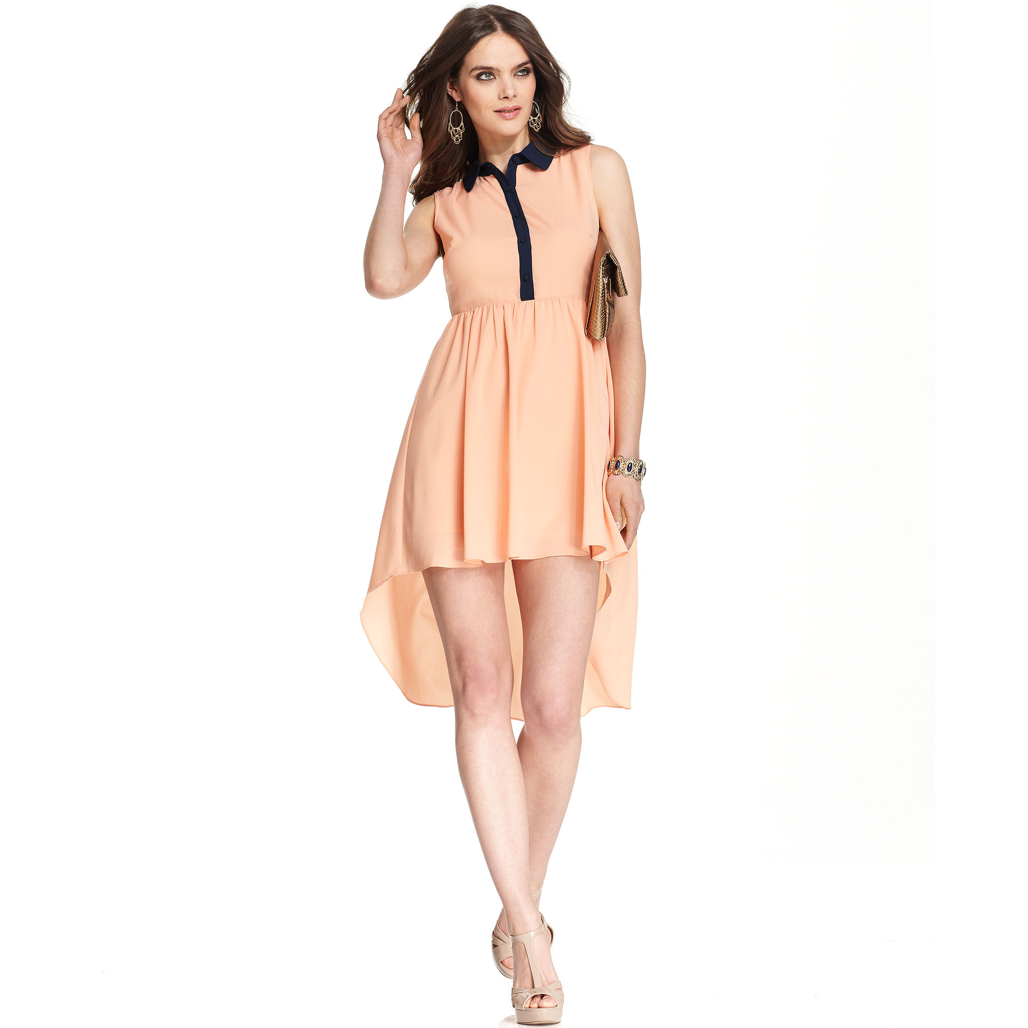 Mm couture sleeveless high low a line dress in pink peach for High couture clothing