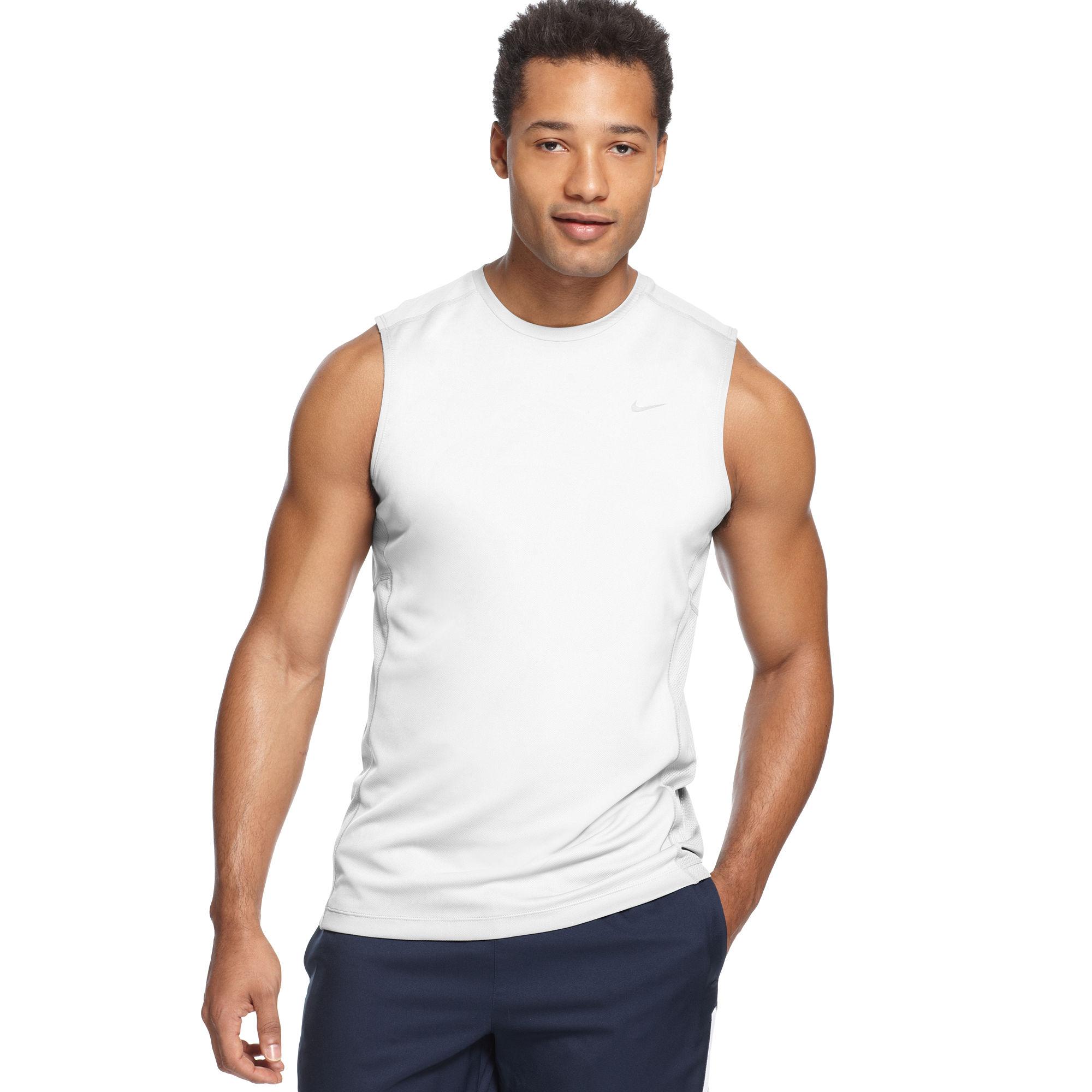 Nike Miler Sleeveless Running Tshirt In White For Men Lyst