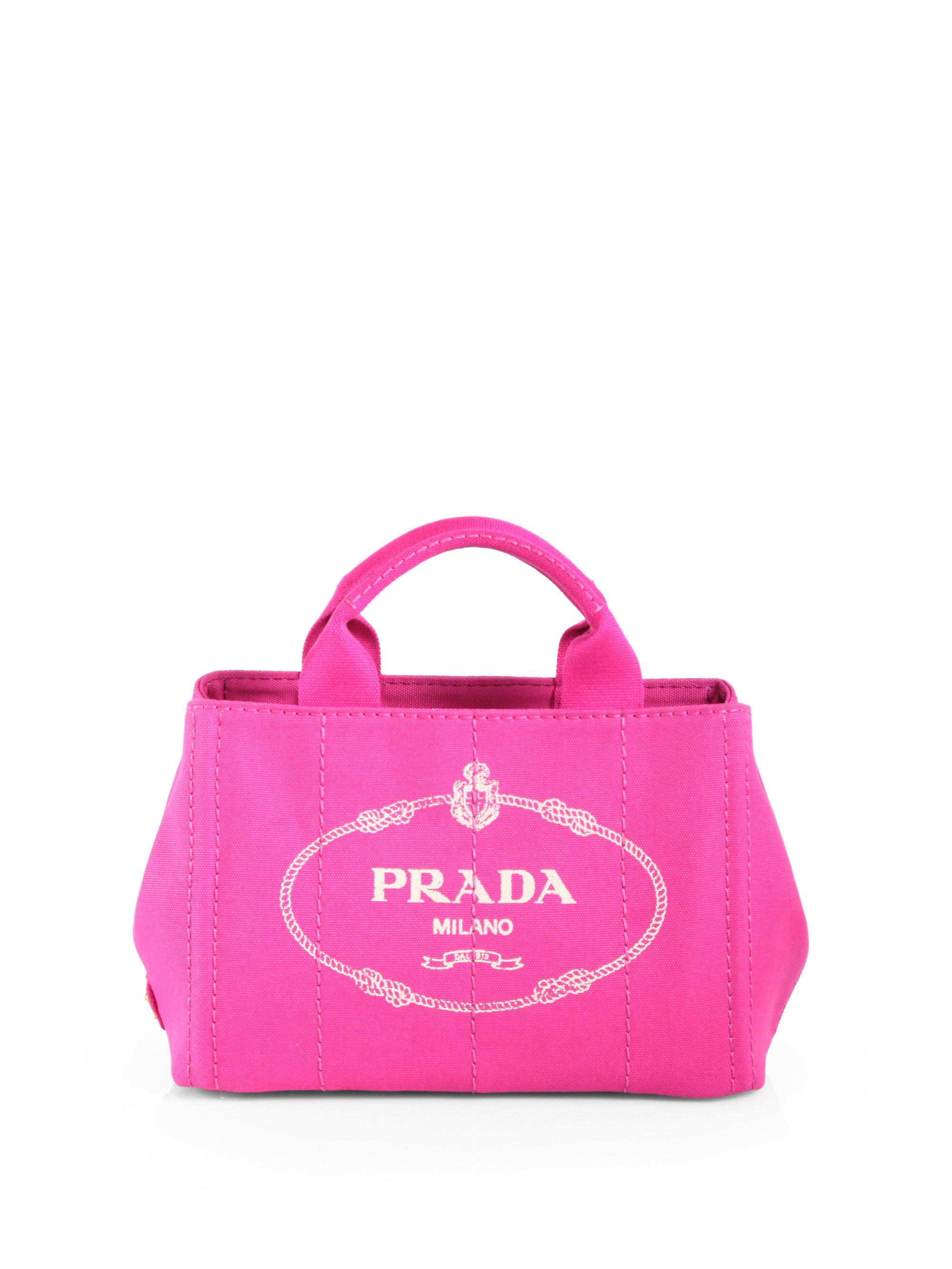 c272d8d53b7da2 Prada Logo Printed Small Canvas Tote in Pink - Lyst