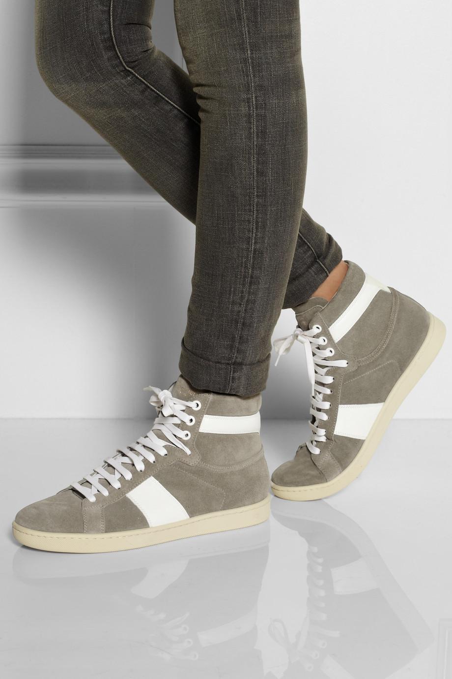 saint laurent leathertrimmed suede hightop sneakers in gray lyst. Black Bedroom Furniture Sets. Home Design Ideas