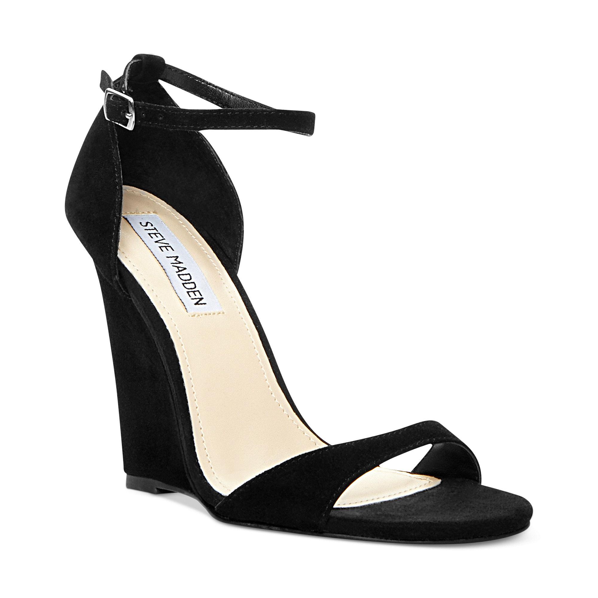 Steve Madden Reeldeal Wedge Sandals In Black Lyst